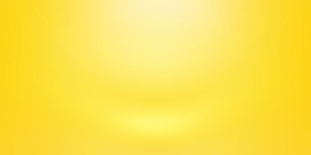 Абстрактное твердое тело сияющего желтого градиента фона комнаты стены студии.