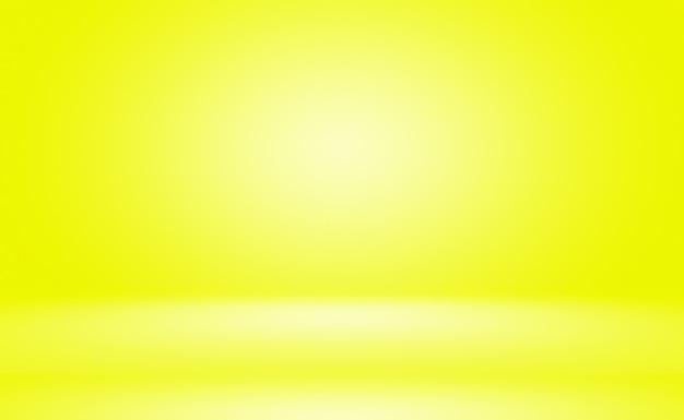 Абстрактное твердое тело сияющей желтой градиентной комнаты стены студии.