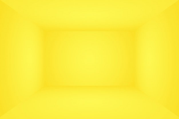 Abstract solid of shining yellow gradient studio wall room background. 3d room.