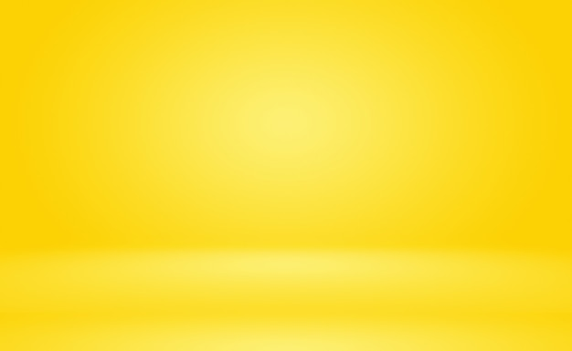 Abstract solid of shining yellow gradient studio wall room background.