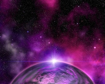 Abstract space background with fictional planet