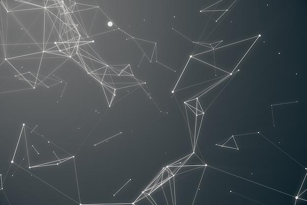 抽象的なスペースグレーの色合いの背景。無秩序に接続された点と空間を飛行するポリゴン。飛んでくる破片。未来的なテクノロジースタイル。ビジネスプレゼンテーションのエレガントな背景。 3dレンダリング