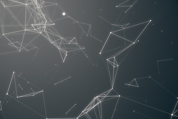 Abstract space gray tint background. chaotically connected points and polygons flying in space. flying debris. futuristic technology style. elegant background for business presentations. 3d rendering