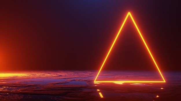 Abstract space ,neon light triangle, 3d render