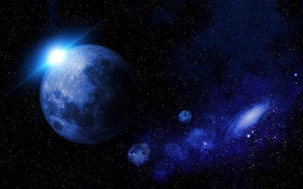 架空の惑星を伴う抽象的な宇宙場面