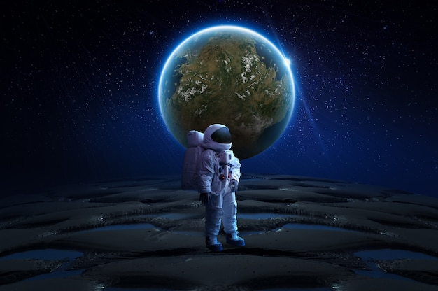 추상 공간 벽지 달 3d 렌더링에 우주 비행사
