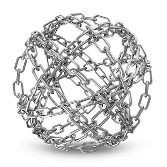 Абстрактная сфера из серебряных цепочек