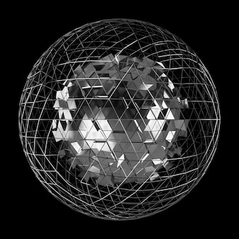 Abstract sphere with shiny cube 3d rendering
