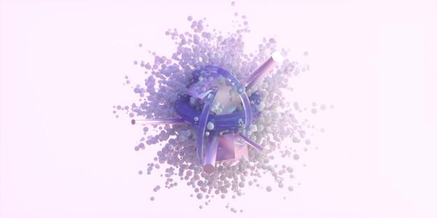 ピンクの背景に抽象的な球。球のクラスターを流れる、3 dの幾何学的図形とバブルの抽象的な背景。 3 dレンダリングのイラスト。