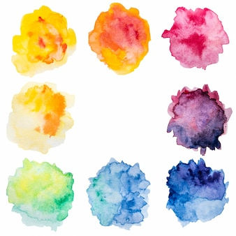 Abstract splashes of colorful watercolor copy space