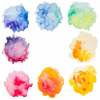 Abstract splashes of colorful watercolor