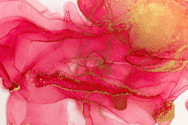 Abstract spring pink peony background. pink and gold watercolor pattern.