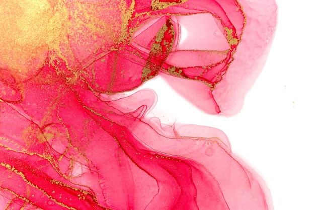 Абстрактный весенний розовый пион. розовый и золотой акварельный образец.