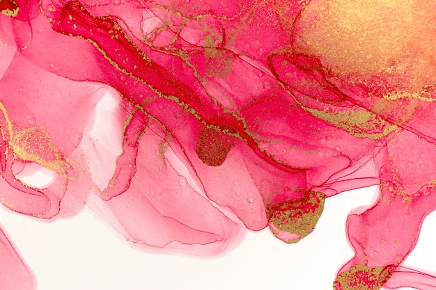 Abstract spring pink peony. pink and gold watercolor pattern.