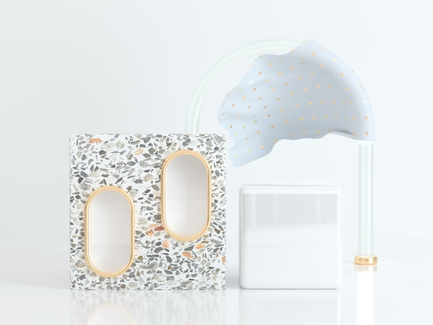Abstract square white scene geometric shape 3d rendering marble gold clear