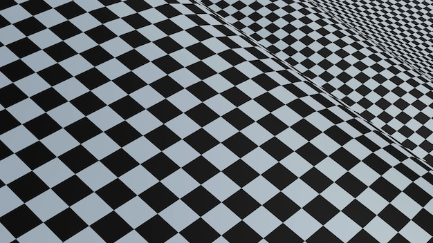 抽象的な正方形の背景、黒と白の市松模様の旗、3dレンダリング。