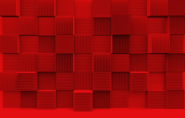 Abstract stack of luxury art pattern red cube boxes wall background.