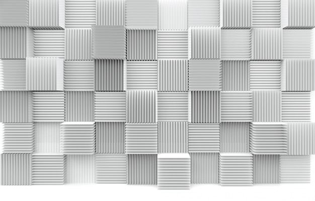 Abstract stack of luxury art pattern white cube boxes wall background.
