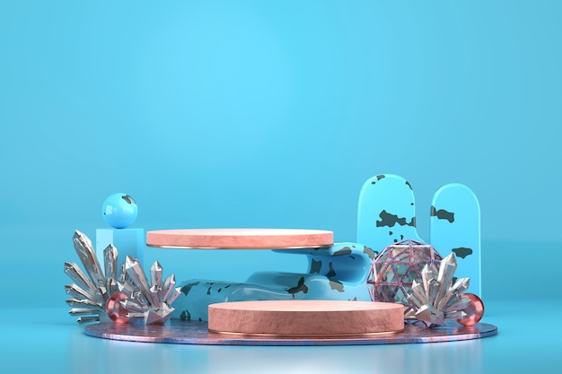 Abstract stage product display showcase with decorations 3d rendering