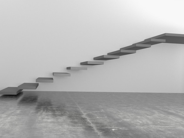 Abstract stairs in interior, 3d rendering
