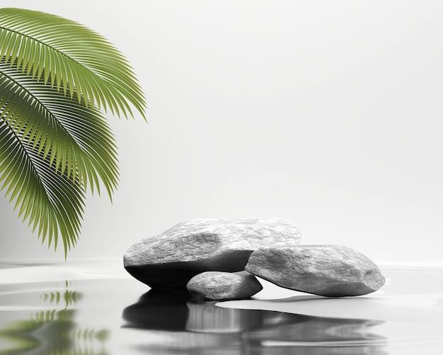 ヤシの葉の3dレンダリングで製品を表示するための抽象的な石のプラットフォームの表彰台のショーケース