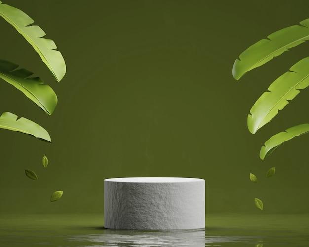 Абстрактная каменная подиумная платформа для демонстрации продуктов с 3d-рендерингом с банановыми листьями