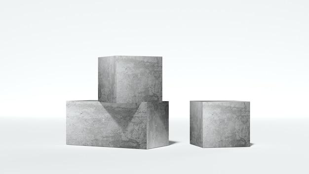 白い背景の上の抽象的な石の表彰台幾何学的な3dレンダリングと抽象的な台座のシーン