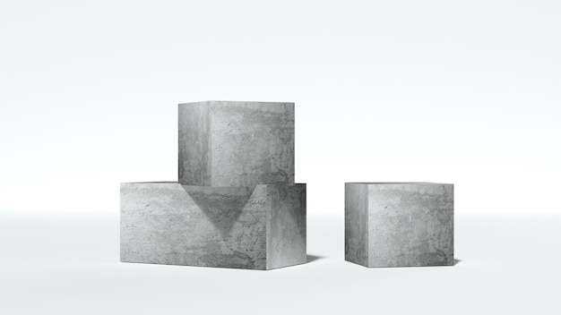 Abstract stone podiums on white background abstract pedestal scene with geometrical  3d render