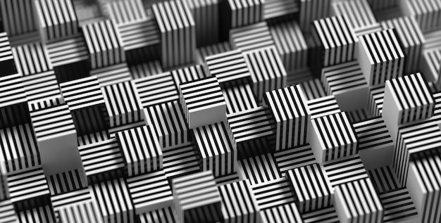 被写界深度のある抽象的なストライプジオメトリの背景3dレンダリング
