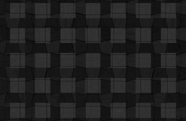 Abstract striped black square wood panels texture wall background.
