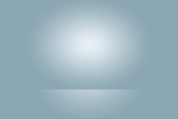 Abstract studio background texture of light blue and gray gradient wall, flat floor. for product.