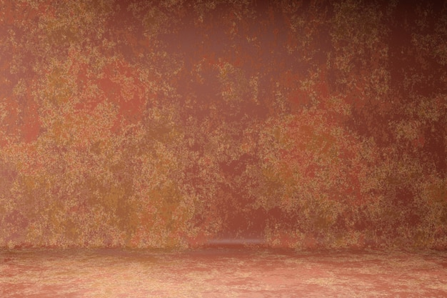 Abstract stylish photo studio portrait background. wall scratch blur dark brown paint grunge backdrop. 3d rendering