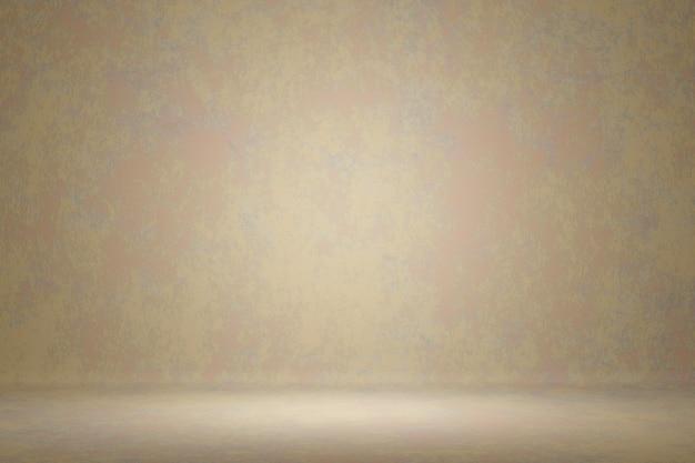 Abstract stylish photo studio portrait background. wall scratch blur light cream paint grunge backdrop. 3d rendering
