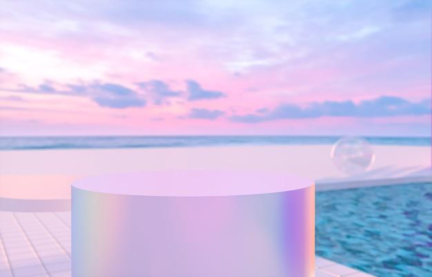 表彰台とスイミングプールの背景を持つ抽象的な夏のビーチシーン。 3dレンダリング。
