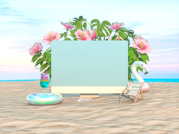 Abstract summer beach scene with desktop computer mockup background