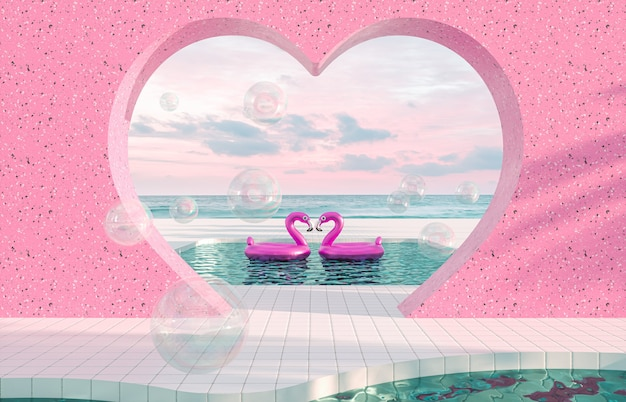 Abstract summer beach scene with pink flamingo in swimming pool background