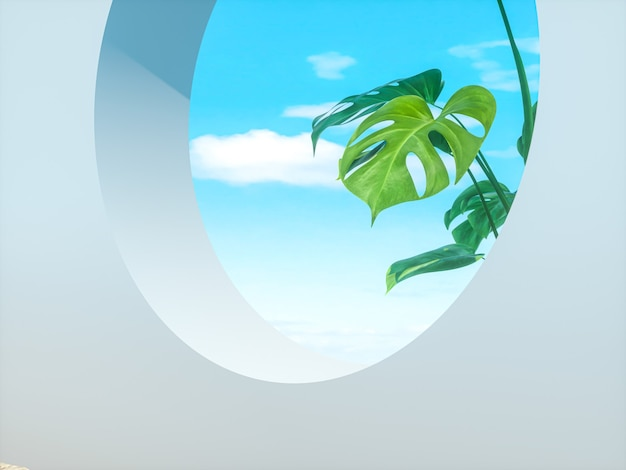 Abstract summer beach scene with a podium background