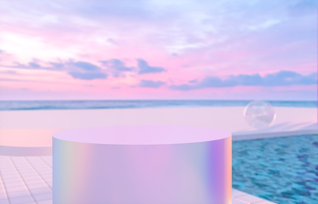 Abstract summer beach scene with a podium and swimming pool background. 3d render.
