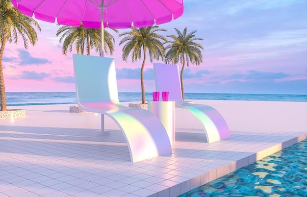 リラックスチェアとスイミングプールの背景を持つ抽象的な夏のビーチシーン。 3dレンダリング。