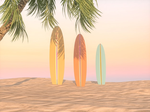 Abstract summer beach scene with surfboard background