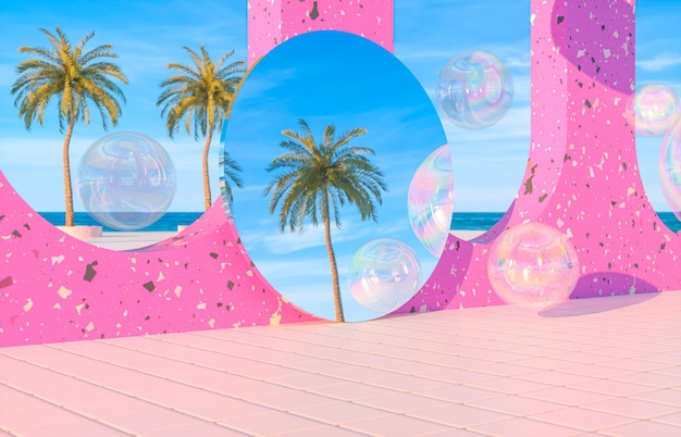 Abstract summer beach scene with swimming pool background