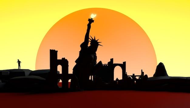 破壊された都市と自由の女神の抽象的な夕日。バナー。バックグラウンド。 3dイラスト。