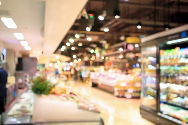 Абстрактный продуктовый магазин супермаркета размытый расфокусированный фон с боке светом