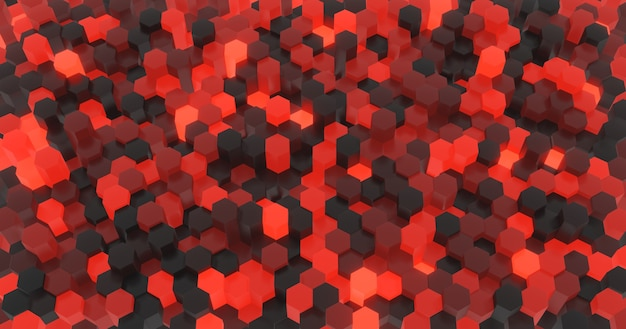 Abstract surface of black and red hexagons randomly illuminated with different heights