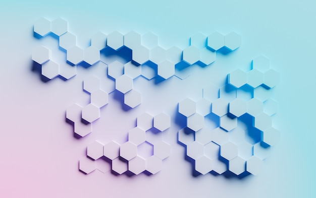 Abstract surface of hexagons with blue and pink gradient color on flat background