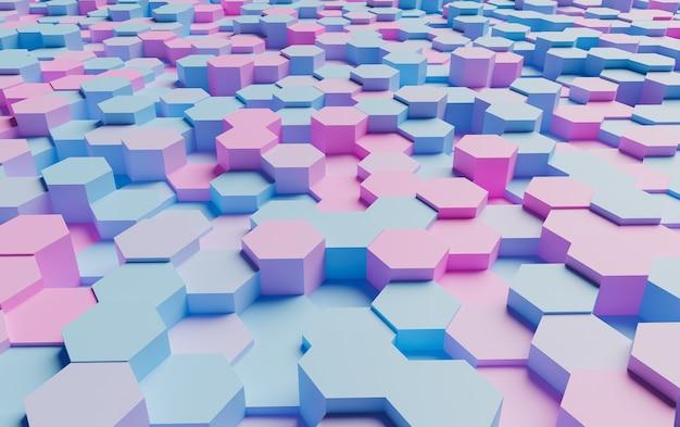柔らかい影で非常に照らされたパステルカラーの六角形の抽象的な表面