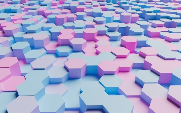Abstract surface of pastel colored hexagons very illuminated with soft shadows