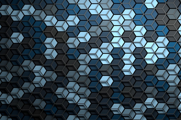 Abstract surface with randomized color hexagons and layered wireframe mesh on top