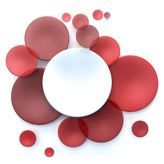 Abstract surface with white and red transparent disks