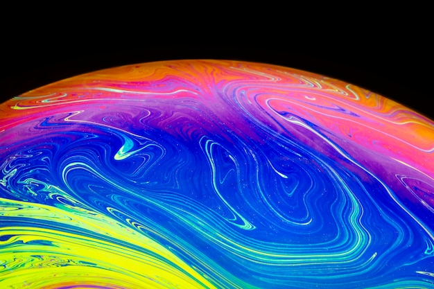 Abstract swirling bubble on black background